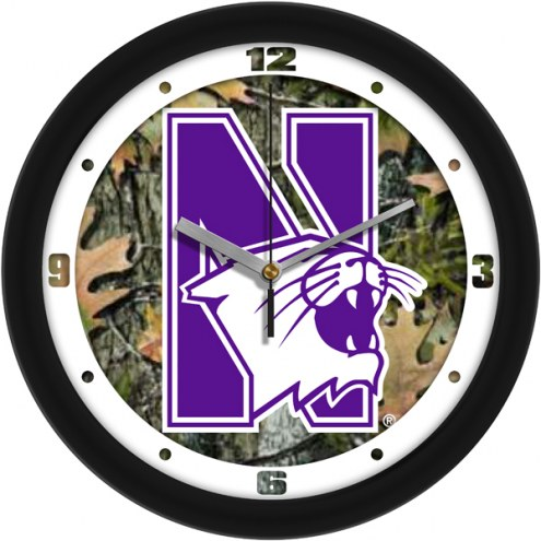 Northwestern Wildcats Camo Wall Clock