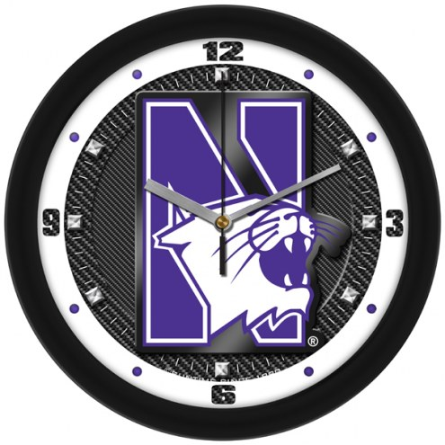 Northwestern Wildcats Carbon Fiber Wall Clock