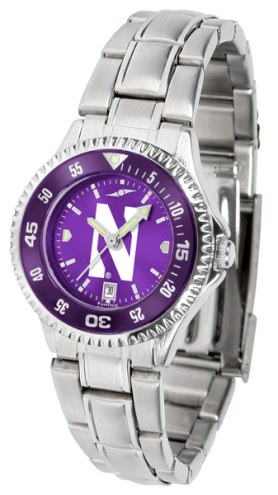 Northwestern Wildcats Competitor Steel AnoChrome Women's Watch - Color Bezel