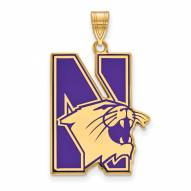 Northwestern Wildcats Sterling Silver Gold Plated Extra Large Enameled Pendant