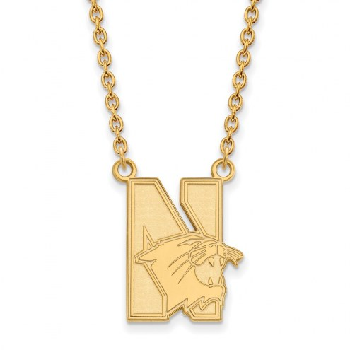 Northwestern Wildcats Sterling Silver Gold Plated Large Pendant Necklace