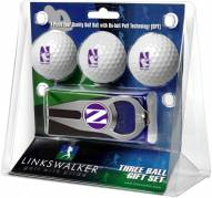 Northwestern Wildcats Golf Ball Gift Pack with Hat Trick Divot Tool