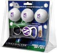 Northwestern Wildcats Golf Ball Gift Pack with Key Chain
