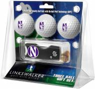 Northwestern Wildcats Golf Ball Gift Pack with Spring Action Divot Tool