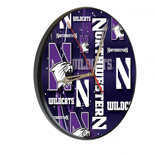 Northwestern Wildcats Digitally Printed Wood Clock