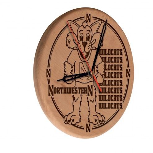 Northwestern Wildcats Laser Engraved Wood Clock