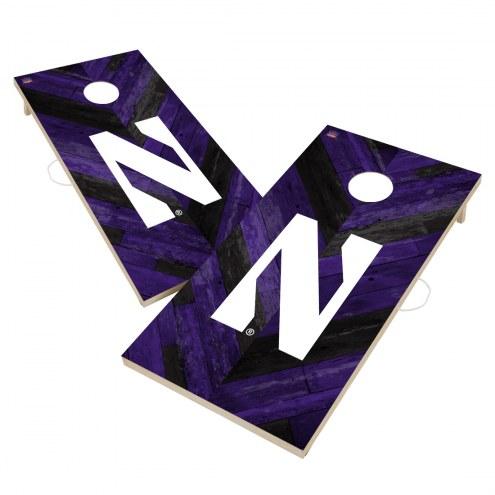 Northwestern Wildcats Herringbone Cornhole Game Set