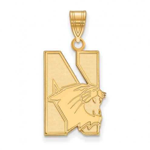 Northwestern Wildcats NCAA Sterling Silver Gold Plated Large Pendant