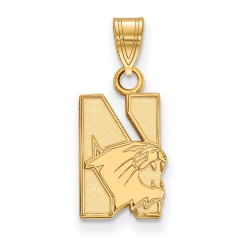 Northwestern Wildcats NCAA Sterling Silver Gold Plated Small Pendant