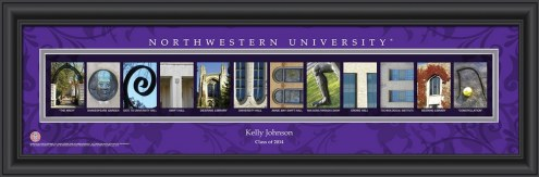 Northwestern Wildcats Personalized Campus Letter Art