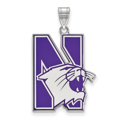 Northwestern Wildcats Sterling Silver Extra Large Enameled Pendant