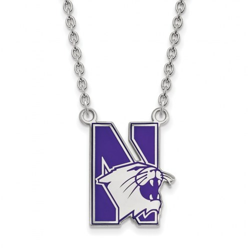 Northwestern Wildcats Sterling Silver Large Enameled Pendant Necklace