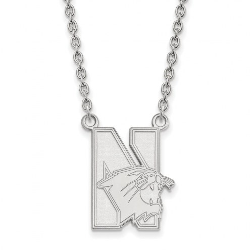 Northwestern Wildcats Sterling Silver Large Pendant Necklace