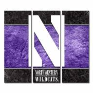 Northwestern Wildcats Triptych Double Border Canvas Wall Art