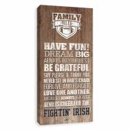 Notre Dame Fighting Irish Family Rules Icon Wood Printed Canvas