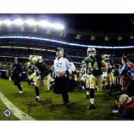 """Notre Dame Fighting Irish Brian Kelly Running On To The Field Signed 16"""" x 20"""" Photo"""