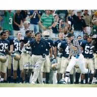 """Notre Dame Fighting Irish Charlie Weis Running Down Sidelines Signed 16"""" x 20"""" Photo"""