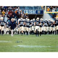 """Notre Dame Fighting Irish Charlie Weis Walking with Team on the Field Signed 16"""" x 20"""" Photo"""