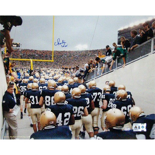 """Notre Dame Fighting Irish Charlie Weis Watching Team Walk out of Tunnel Signed 16"""" x 20"""" Photo"""