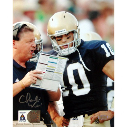 """Notre Dame Fighting Irish Charlie Weis with Brady Quinn Signed 16"""" x 20"""" Photo"""