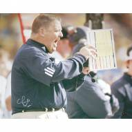 """Notre Dame Fighting Irish Charlie Weis Yelling from Sidelines Signed 16"""" x 20"""" Photo"""