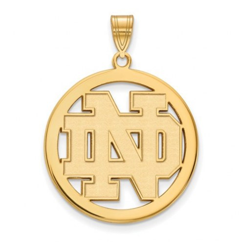 Notre Dame Fighting Irish Sterling Silver Gold Plated Large Circle Pendant