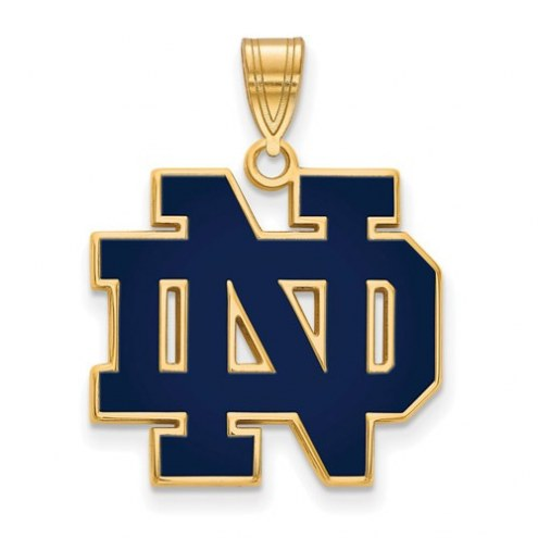 Notre Dame Fighting Irish Sterling Silver Gold Plated Large Enameled Pendant