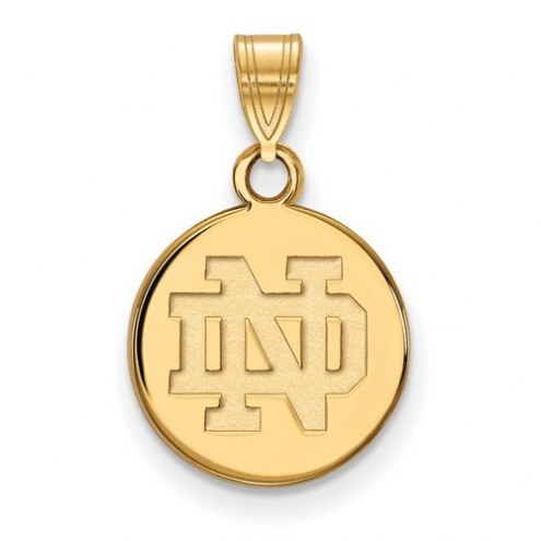 Notre Dame Fighting Irish Sterling Silver Gold Plated Small Disc Pendant