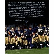 """Notre Dame Fighting Irish Lou Holtz Running out Notre Dame Tunnel Story Signed 16"""" x 20"""" Photo"""