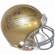 Notre Dame Fighting Irish Lou Holtz Signed Authentic Full Size Helmet with 6 Stats