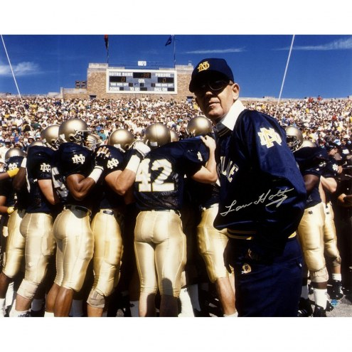 Notre Dame Fighting Irish Lou Holtz Signed 16 x 20 Photo with Team and Scoreboard in Background