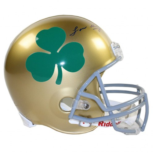 Notre Dame Fighting Irish Lou Holtz Signed Riddell Full Size Replica Helmet with Shamrock