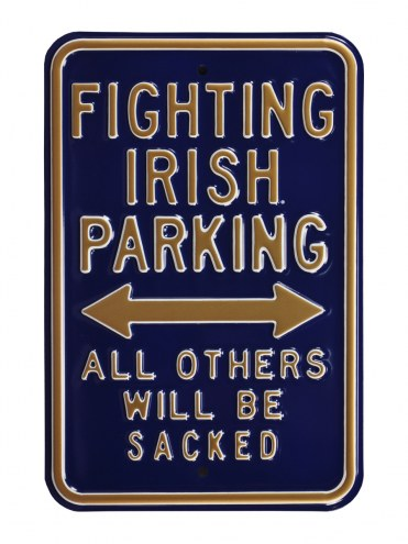Notre Dame Fighting Irish NCAA Embossed Parking Sign
