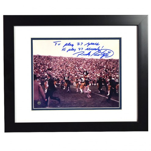 Notre Dame Fighting Irish Rudy Ruettiger Signed and Framed Carried Off the Field 8 x 10 Photo