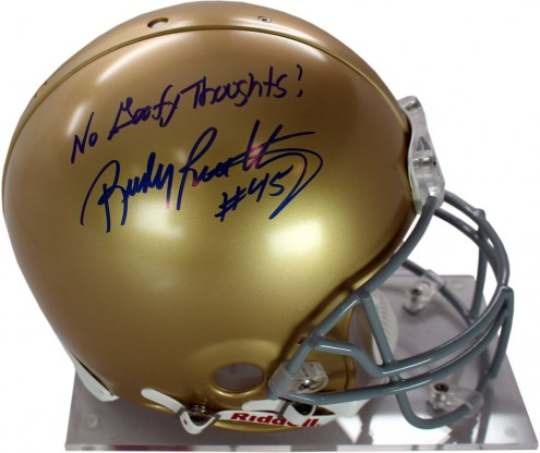 Notre Dame Fighting Irish Rudy Ruettiger Signed Authentic Full Size Helmet w/ No Goofy Thoughts