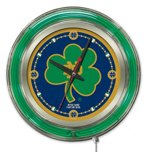 Notre Dame Fighting Irish Shamrock Neon Clock