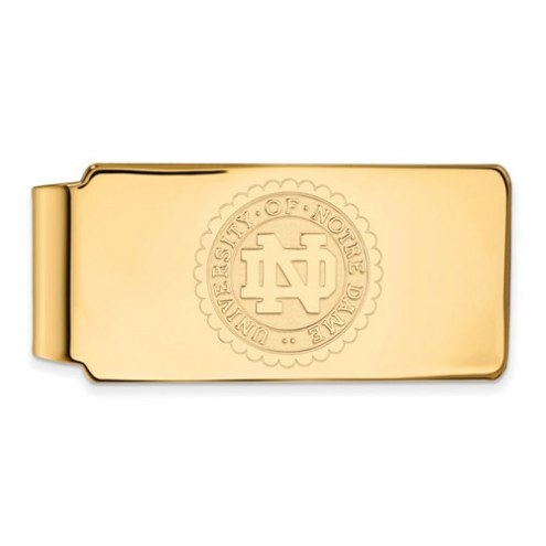 Notre Dame Fighting Irish Sterling Silver Gold Plated Crest Money Clip