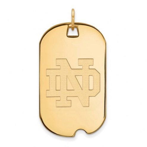 Notre Dame Fighting Irish Sterling Silver Gold Plated Large Dog Tag
