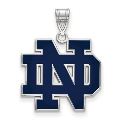 Notre Dame Fighting Irish Sterling Silver Large Enameled Pendant