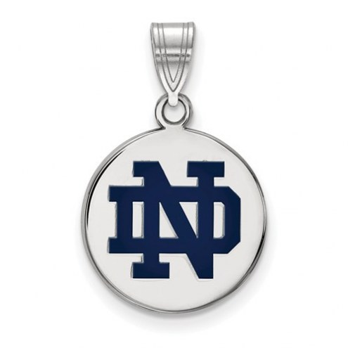 Notre Dame Fighting Irish Sterling Silver Medium Enameled Disc Pendant