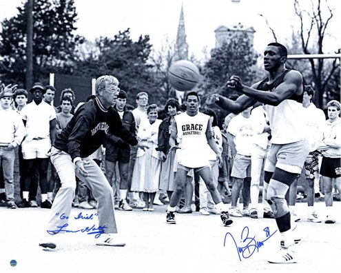 "Notre Dame Fighting Irish Tim Brown & Lou Holtz Playing Basketball with Lou Holtz w/ ""Go Irish"" Signed 16"" x 20"" Photo"