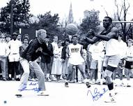 """Notre Dame Fighting Irish Tim Brown & Lou Holtz Playing Basketball with Lou Holtz w/ """"Go Irish"""" Signed 16"""" x 20"""" Photo"""