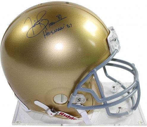 "Notre Dame Fighting Irish Tim Brown Signed Full Size Authentic Proline Helmet w/ ""Heisman 87"""