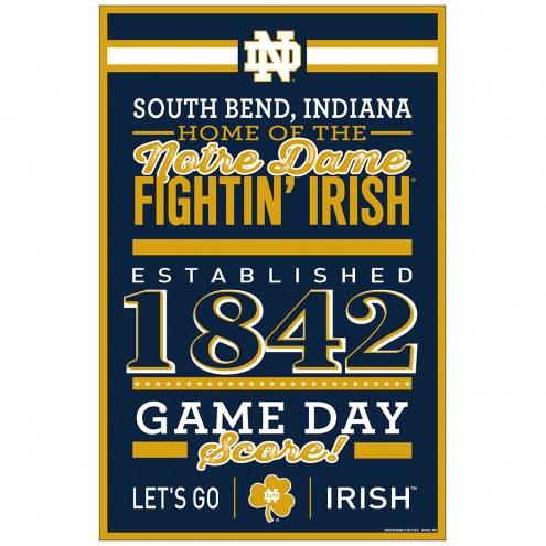 Notre Dame Fighting Irish Established Wood Sign