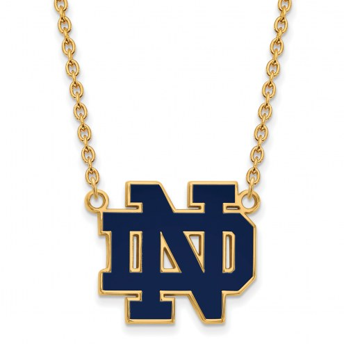 Notre Dame Fighting Irish NCAA Sterling Silver Gold Plated Large Pendant with Necklace