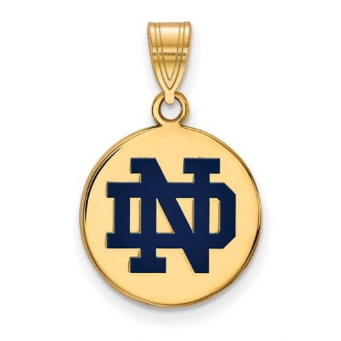 Notre Dame Fighting Irish Sterling Silver Gold Plated Medium Enameled Disc Pendant