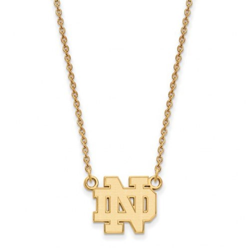 Notre Dame Fighting Irish NCAA Sterling Silver Gold Plated Small Pendant with Necklace