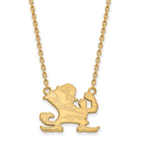 Notre Dame Fighting Irish Sterling Silver Gold Plated Large Pendant with Necklace