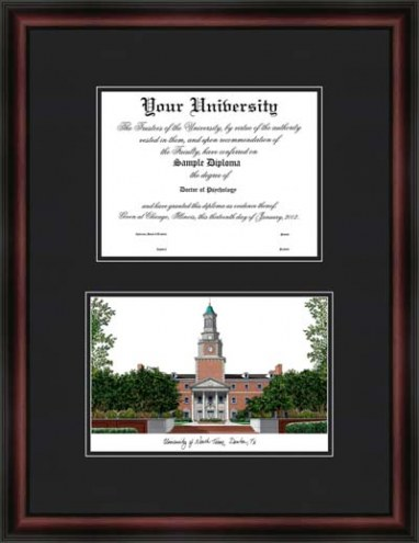 University of North Texas Diplomate Framed Lithograph with Diploma Opening