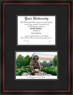 University of North Carolina Charlotte Diplomate Framed Lithograph with Diploma Opening
